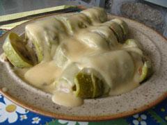 Stuffed Zucchini with egg and lemon sauce