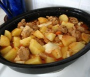Pork with vegetables in clay pot