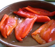 Sweet fried red peppers