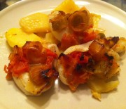 Stuffed Cuttlefish with leeks and tomato