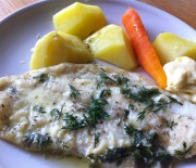 Fried sole with mayonnaise and ouzo